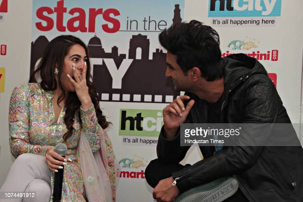 Bollywood actors Sara Ali Khan and Sushant Singh Rajput during an exclusive interview with HT CityHindustan Times for the promotion of her upcoming...