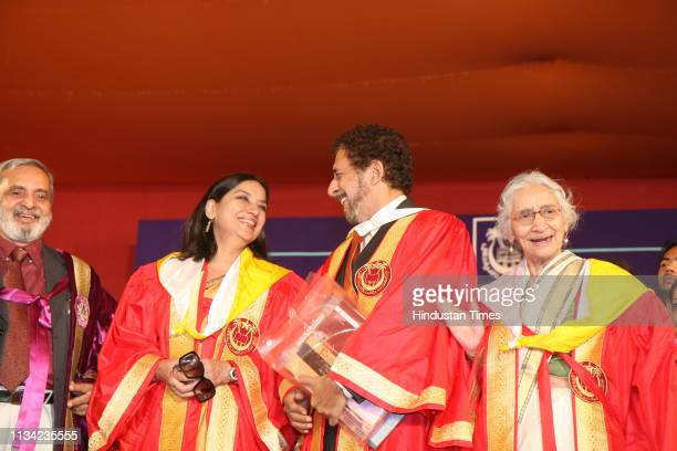 Bollywood actors Shabana Azmi Naseeruddin Shah and others at the Annual Convocation of Jamia University on October 30 2008 in New Delhi India The...