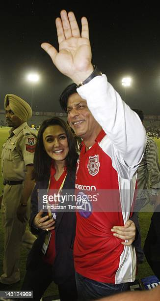 Bollywood actors Shah Ruk Khan and Preity Zinta during the IPL20 match between Kings XI Punjab and Kolkata Knight Riders at PCA cricket Stadium on...