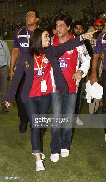 Bollywood actors Shah Ruk Khan with Preity Zinta during the IPL20 match between Kings XI Punjab and Kolkata Knight Riders at PCA cricket Stadium on...