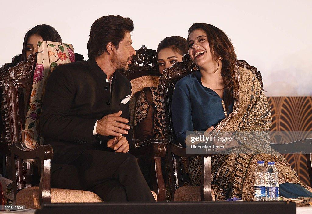 Bollywood actors Shah Rukh Khan and Kajol during an inauguration of the 22nd Kolkata International Film Festival at Netaji Indoor Stadium on November.