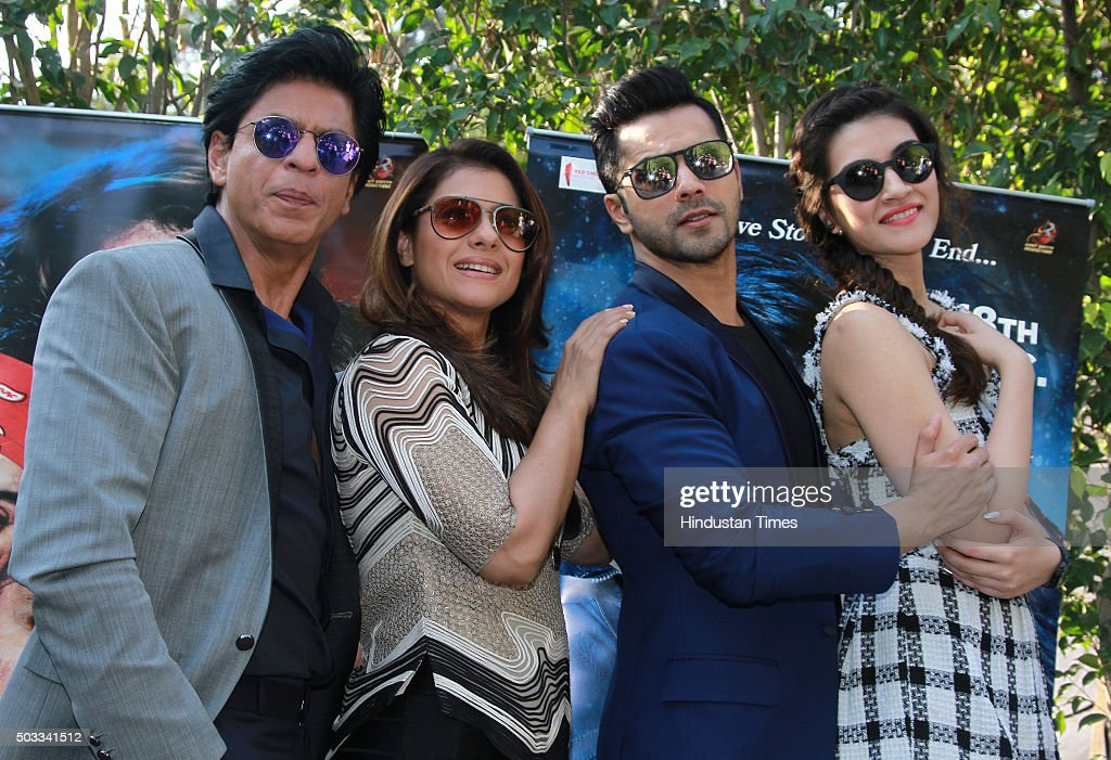 Bollywood actors Shah Rukh Khan Kajol Varun Dhawan and Kriti Sanon during the promotion of their upcoming movie Dilwale at Dusit Devarana on December.