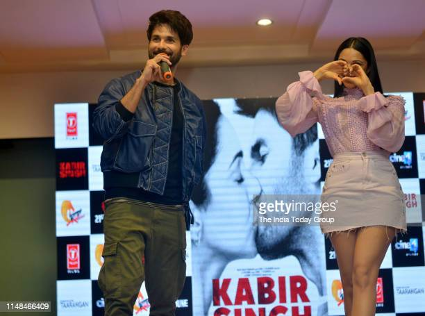 Bollywood Actors Shahid Kapoor and Kiara Advani clicked during the song launch of 'Mere Sohneya' from their upcoming film 'Kabir Singh' in Mumbai