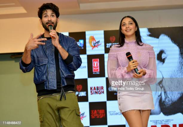 Bollywood Actors Shahid Kapoor and Kiara Advani clicked during the song launch of 'Mere Sohneya' from their upcoming film 'Kabir Singh' in Mumbai.