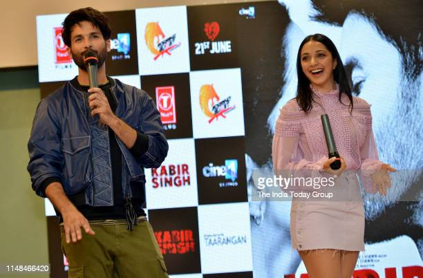 Bollywood Actors Shahid Kapoor and Kiara Advani clicked enjoying during the song launch of 'Mere Sohneya' from their upcoming film 'Kabir Singh' in...