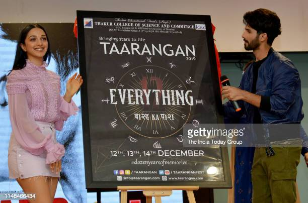 Bollywood Actors Shahid Kapoor and Kiara Advani clicked while unveiling a poster during the song launch of 'Mere Sohneya' from their upcoming film...