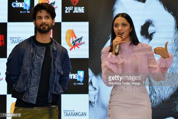 Bollywood Actors Shahid Kapoor and Kiara Advani clicked while interacting with the audience, during the song launch of 'Mere Sohneya' from their...