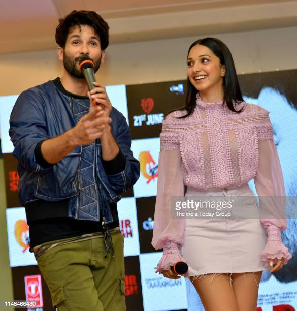 Bollywood Actors Shahid Kapoor and Kiara Advani clicked while interacting with the audience during the song launch of 'Mere Sohneya' from their...