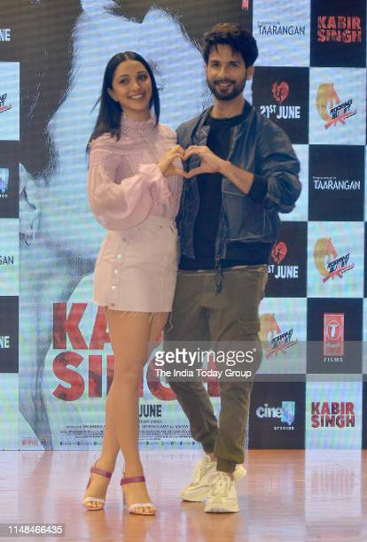 Bollywood Actors Shahid Kapoor and Kiara Advani pose for a picture during the song launch of 'Mere Sohneya' from their upcoming film 'Kabir Singh' in...