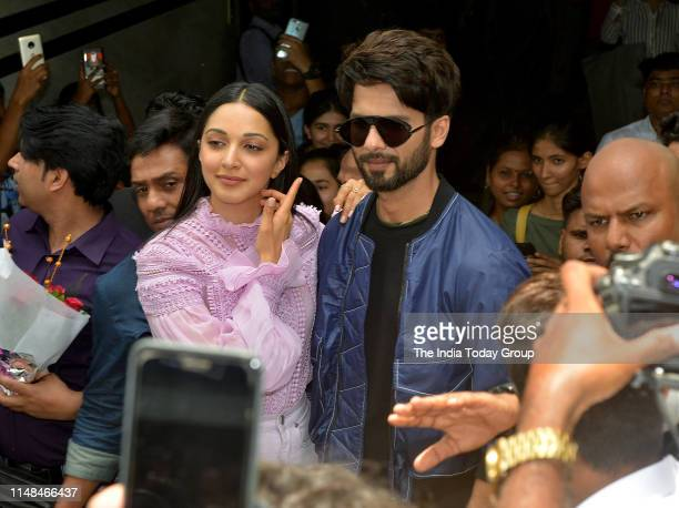 Bollywood Actors Shahid Kapoor and Kiara Advani pose for the camera, during the song launch of 'Mere Sohneya' from their upcoming film 'Kabir Singh'...