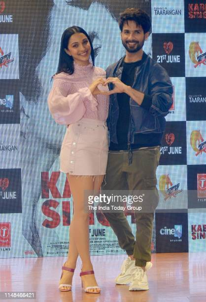Bollywood Actors Shahid Kapoor and Kiara Advani pose for the cameras, during the song launch of 'Mere Sohneya' from their upcoming film 'Kabir Singh'...