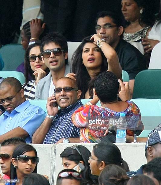 Bollywood actors Shahid Kapoor and Priyanka Chopra watch the Standard Bank Pro20 international match between South Africa and India at Moses Mabhida...