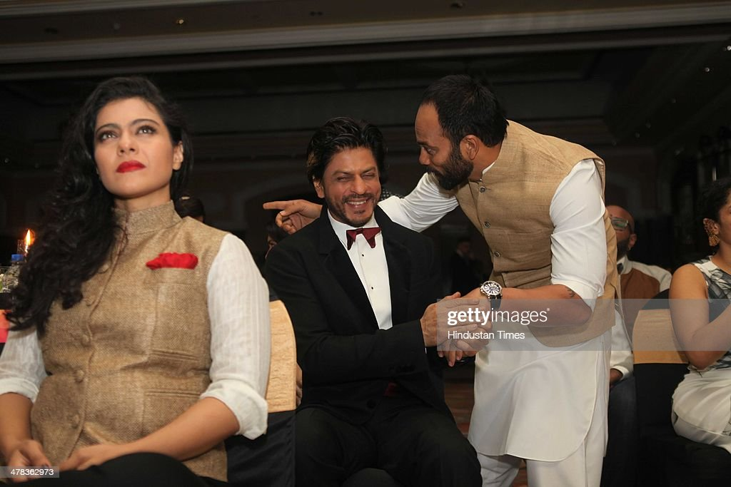 Bollywood actors Shahrukh Khan Kajol Devgan and director Rohit Shetty during the Hindustan Times Mumbais `Most Stylish Awards 2014` at ITC Grand...