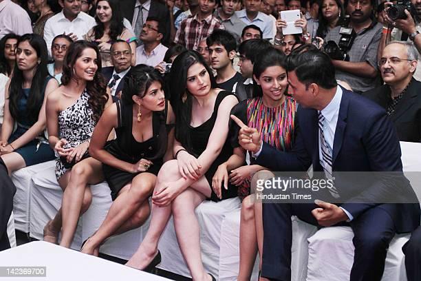 Bollywood Actors Shazahn Padamsee Jacqueline Fernandez Zarine Khan Asin Thottumkal and Akshay Kumar attends a promotional event to unveil the new...