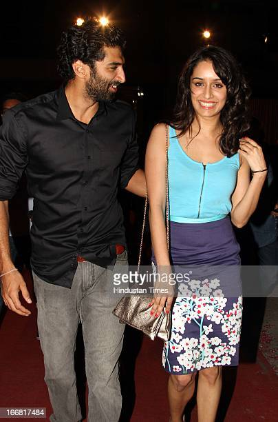 Bollywood actors Shraddha Kapoor and Aditya Roy Kapur at Press conference of upcoming film Aashiqui 2 at Laxmi Studious Film City on April 15 2013 in...