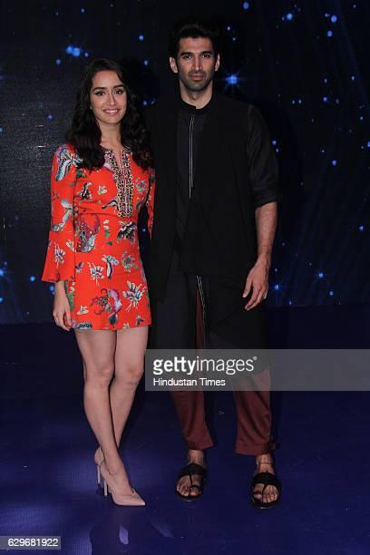 Bollywood actors Shraddha Kapoor and Aditya Roy Kapur visit the set of Indian Idol Season 9 at Film City Goregaon on December 12 2016 in Mumbai India