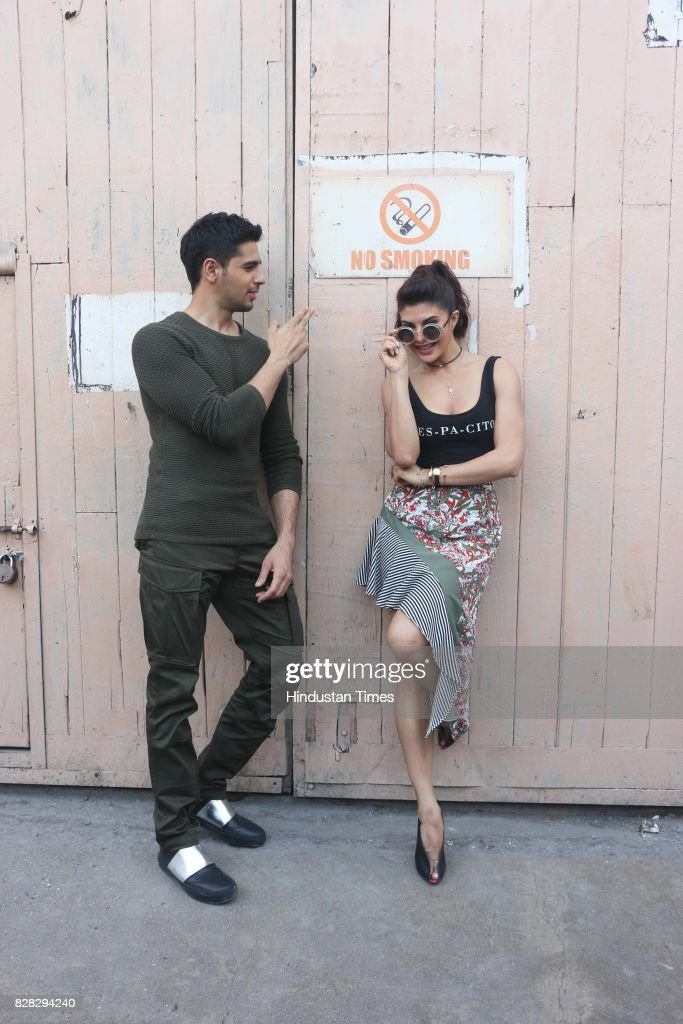 Bollywood actors Sidharth Malhotra and Jacqueline Fernandez spotted at studio Bandra on August 7 2017 in Mumbai India