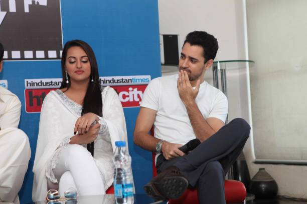 Bollywood actors Sonakshi Sinha and Imran Khan during an exclusive interview for promotion of upcoming movie Once Upon A Time in Mumbai Dobara at HT..