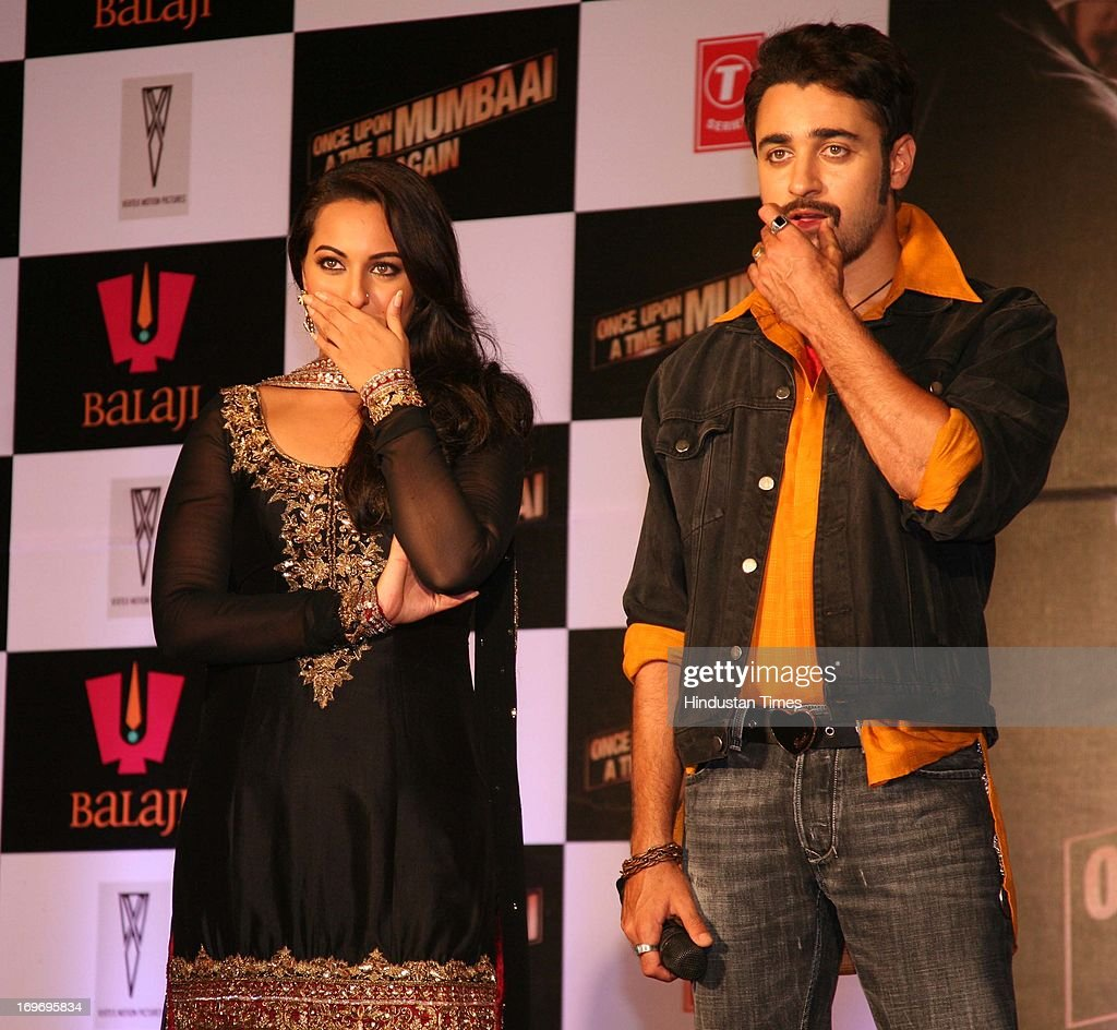 Bollywood actors Sonakshi Sinha and Imran Khan during the first look of upcoming film Once Upon A Time In Mumbaai Again at Film City on May 29 2013...