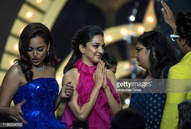 Bollywood actors Sonakshi Sinha and Kiara Advani during the Hindustan Times India's Most Stylish Awards 2019 at St. Regis on March 29, 2019 in...