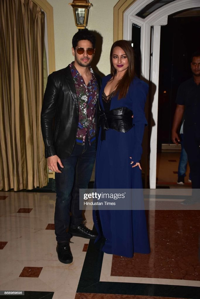 Bollywood actors Sonakshi Sinha and Sidharth Malhotra at a promotional event for Ittefaq on October 30 2017 in Mumbai India