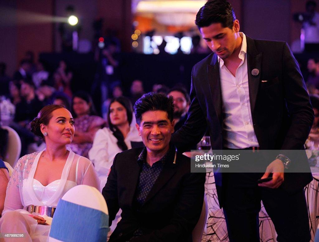 Bollywood actors Sonakshi Sinha Sidharth Malhotra and fashion designer Manish Malhotra during the Hindustan Times Mumbai`s Most Stylish Awards 2015...