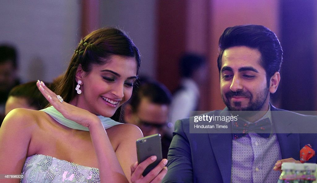 Bollywood actors Sonam Kapoor and Ayushmann Khurrana during the Hindustan Times Mumbai's Most Stylish Awards 2015 at JW Mariott Hotel, Juhu on March 26, 2015 in Mumbai, India.
