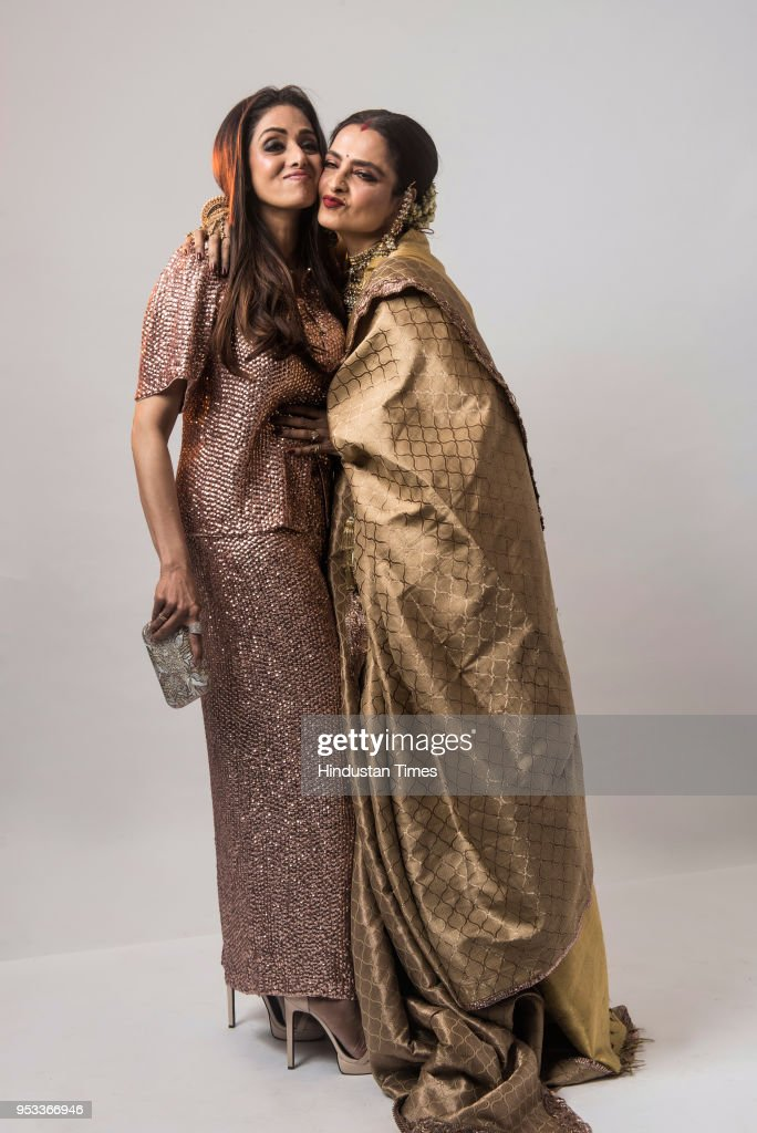 Bollywood actors Sridevi and Rekha pose for photograph during HT India`s Most Stylish Awards 2018 at Yashraj Studio Andheri on January 24 2018 in...