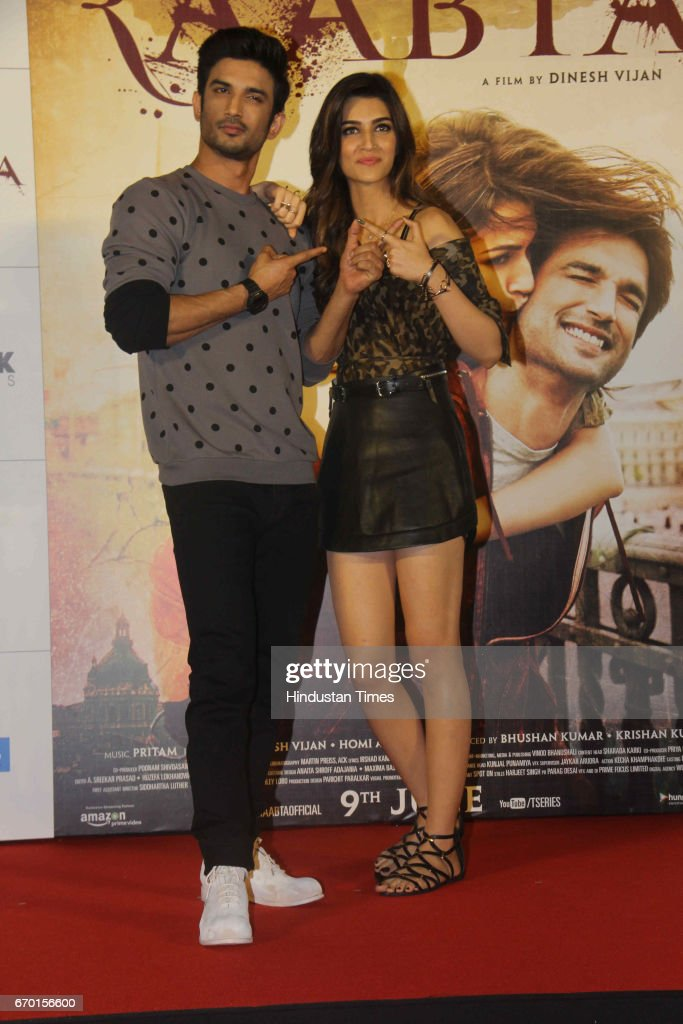 Bollywood actors Sushant Singh Rajput and Kriti Sanon during the trailer launch of movie Raabta at PVR Cinema Juhu on April 17 2017 in Mumbai India...