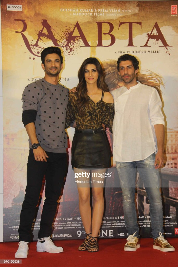 Bollywood actors Sushant Singh Rajput Kriti Sanon and Jim Sarbh during the trailer launch of movie Raabta at PVR Cinema Juhu on April 17 2017 in...