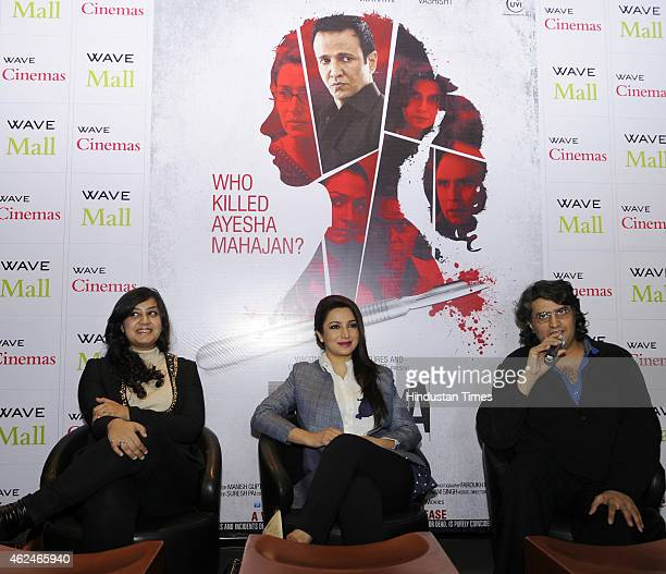 Bollywood actors Tisca Chopra debutant Sakshi Sem and Director Manish Gupta during a press conference for the promotion of their upcoming Bollywood...
