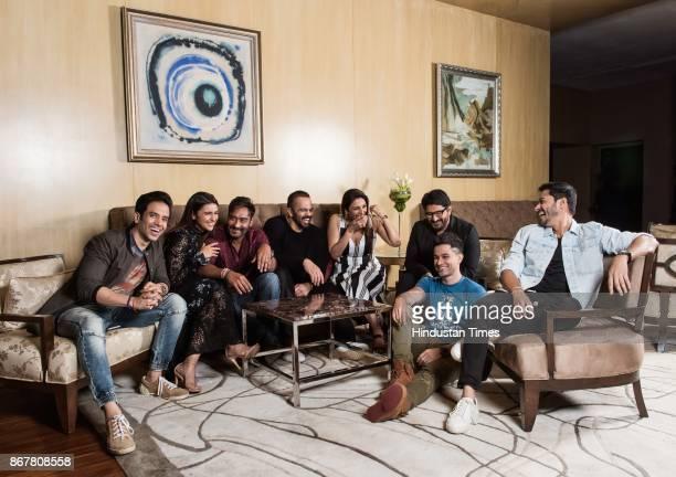 Bollywood actors Tushar Kapoor Parineeti Chopra Ajay Devgn director Rohit Shetty Tabu Arshad Warsi Kunal Khemu and Shreyas Talpade during an...