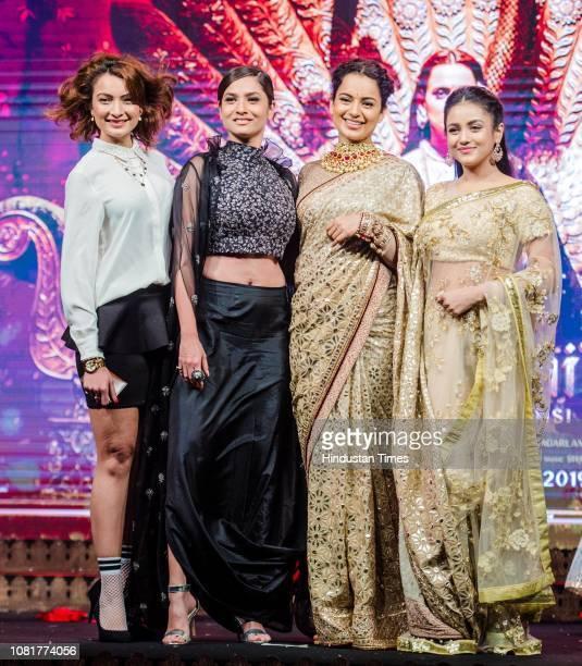 Bollywood actors Unnati Davara Kangana Ranaut Ankita Lokhande and Mishti Chakraborty during a launch of the first song titled Vijayi Bhava from the...