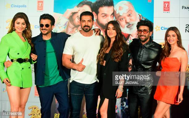 Bollywood actors Urvashi Rautela Anil Kapoor John Abraham Ileana D'Cruz Pulkit Samrat and Kriti Kharbanda pose during the song launch of the upcoming...