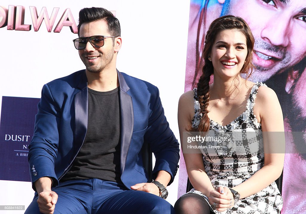Bollywood actors Varun Dhawan and Kriti Sanon during the promotion of their upcoming movie Dilwale at Dusit Devarana on December 16 2015 in New Delhi.