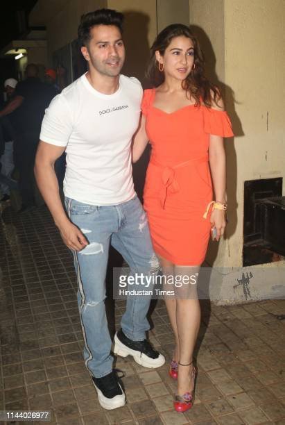 Bollywood actors Varun Dhawan and Sara Ali Khan spotted on May 10 2019 in Mumbai India