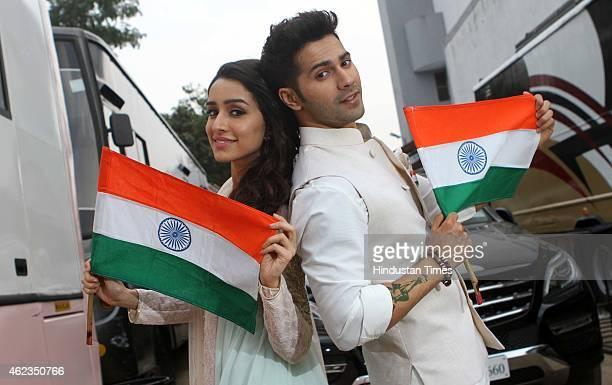 Bollywood actors Varun Dhawan and Shraddha Kapoor during an exclusive photo shoot for Republic Day special at Dada Sahab Phalke Chitranagari on...