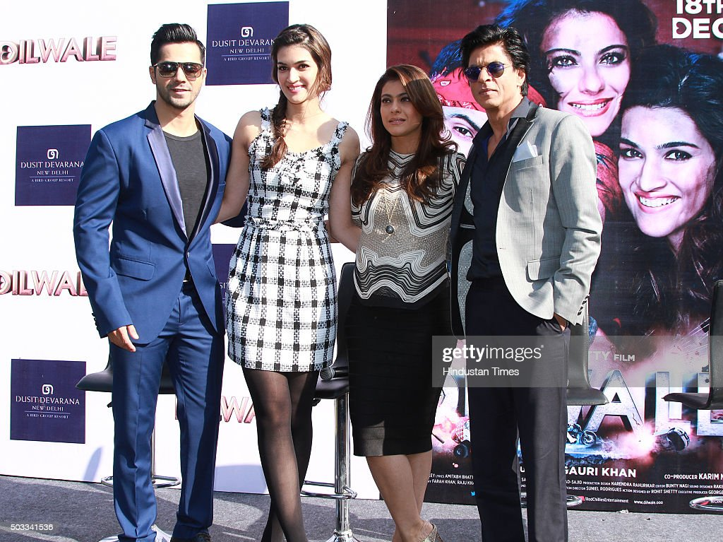 Bollywood actors Varun Dhawan Kriti Sanon Kajol and Shah Rukh Khan during the promotion of their upcoming movie Dilwale at Dusit Devarana on December.