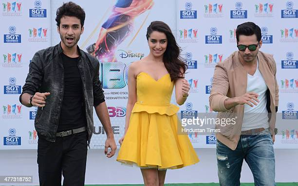 Bollywood actors Varun Dhawan Raghav Juyal and actress Shraddha Kapoor during the promotional event of their upcoming movie ABCD 2 at SGT Institute...