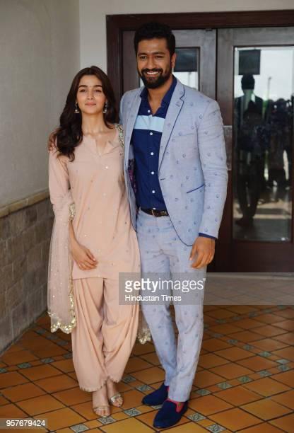 Bollywood actors Vicky Kaushal and Alia Bhatt during the promotion of a movie 'Raazi' at SunNSand Hotel on May 10 2018 in Mumbai India Raazi is a...