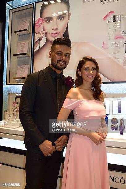 Bollywood actress Aditi Rao Hydari and Stafford Braganza National Makeup Artist Lancome India attend the launch of Lancome's new store at the...