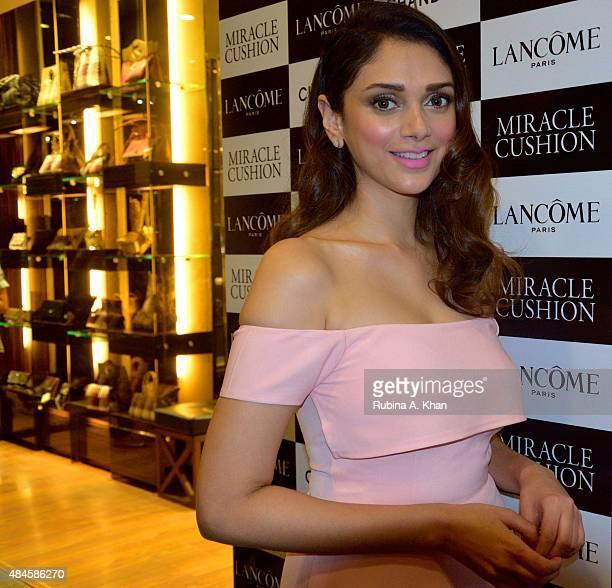Bollywood actress Aditi Rao Hydari inaugurates Lancome India's new store at the Palladium Mall on August 20 2015 in Mumbai India