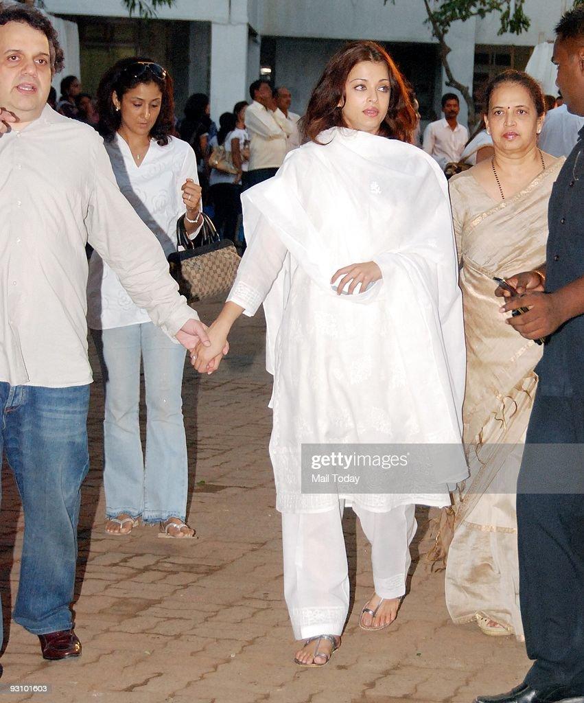 Bollywood actress Aishwarya Rai at the Chautha ceremony of Bollywood actor Dimple Kapadia`s younger sister Simple Kapadia in Mumbai on Saturday...