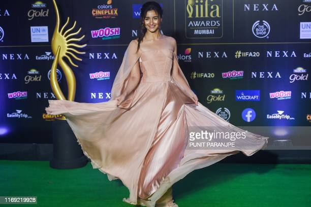 Bollywood actress Alia Bhatt poses at the 20th International Indian Film Academy Awards at NSCI Dome in Mumbai early on September 19 2019