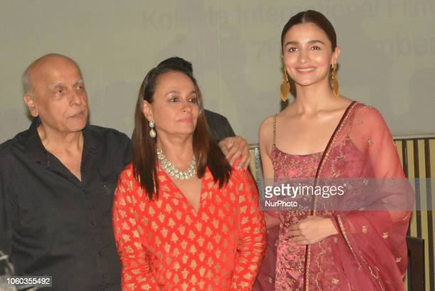 Bollywood Actress Alia Bhatt with mom Soni Razdan and dad Film Director Mahesh Bhatt attends 24th Kolkata International Film on November 112018 in...
