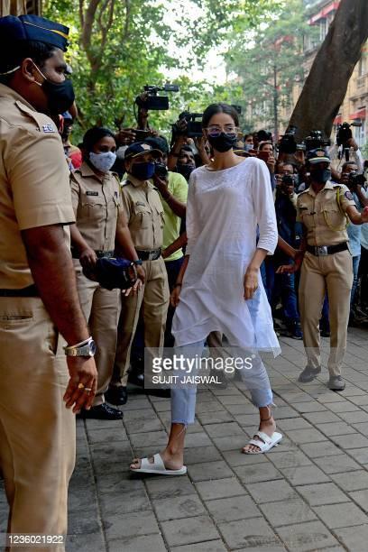 Bollywood actress Ananya Panday arrives at the Narcotics Control Bureau office in Mumbai on October 21, 2021.