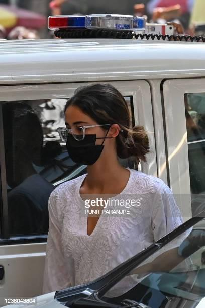 Bollywood actress Ananya Panday arrives at the Narcotics Control Bureau office in Mumbai on October 22, 2021.