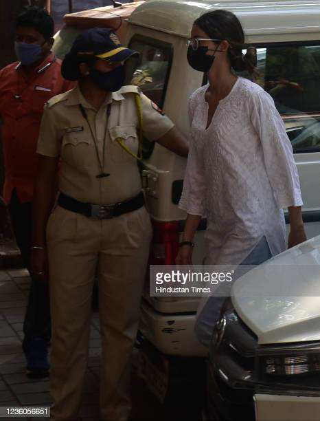 Bollywood actress Ananya Panday reaches NCB office along with her father Chunky Panday at Ballard Estate on October 22, 2021 in Mumbai, India.