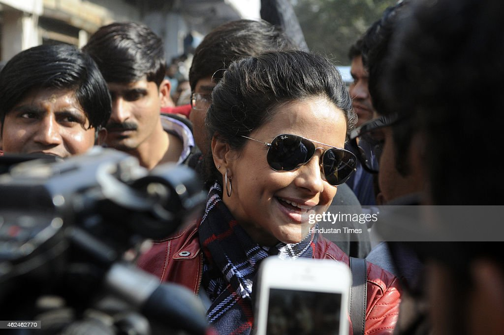 Bollywood actress and AAP leader Gul Panag talks to media during election campaign for the party candidate at Shashtri Nagar area for the upcoming Delhi Assembly elections 2015 on January 29, 2015 in New Delhi, India. Polling in Delhi will be held on February 7 and the counting of votes will take place on February 10.