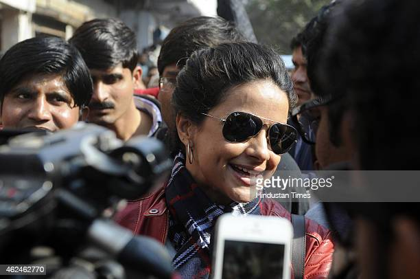 Bollywood actress and AAP leader Gul Panag talks to media during election campaign for the party candidate at Shashtri Nagar area for the upcoming...
